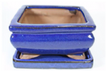 Bonsai Pot, Rectangle, 13cm, Blue (Dark), Glazed, Saucer